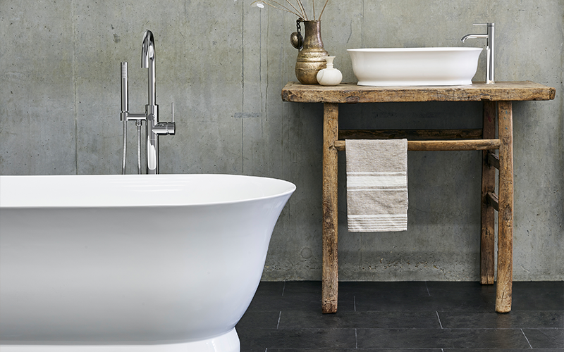 Spa Inspired Bathroom   Bring opulence to your bathroom with a luxury freestanding bath and countertop basin