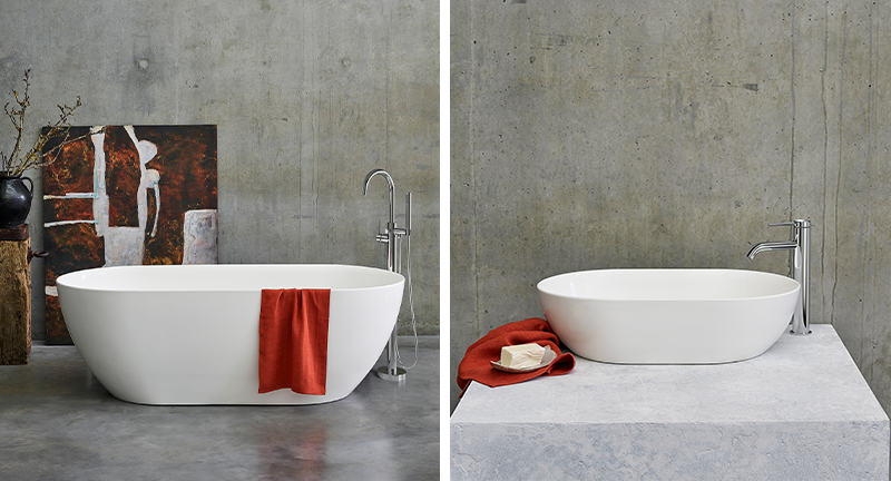 Modern Luxury Bathroom Design | Create a cohesive contemporary space with the Formoso Bath and Foromoso Basin for the ultimate luxurious bathroom experience.